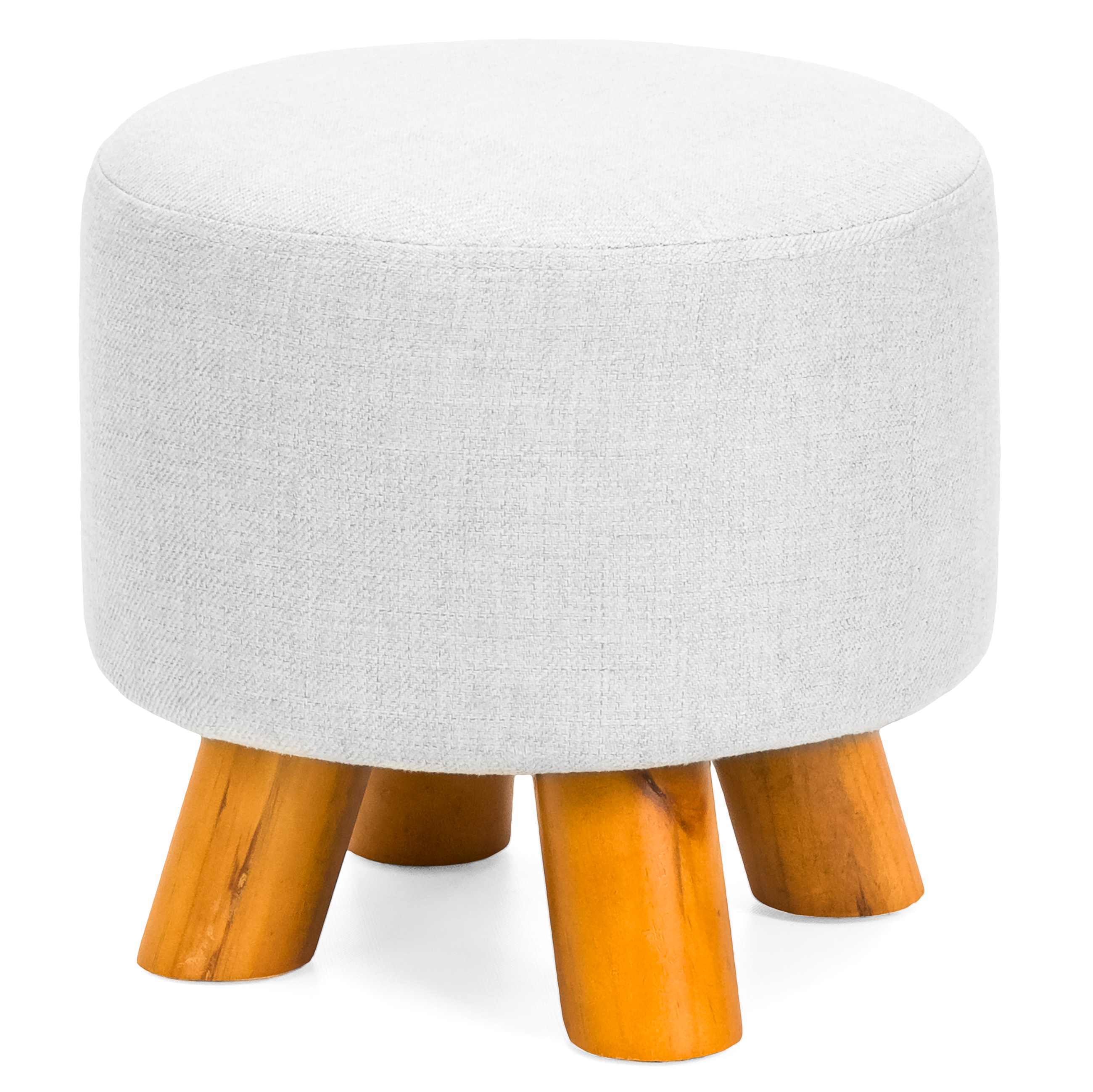 Best Choice Products Upholstered Padded Lightweight Pouf Ottoman Footrest Stool w/ Removable Linen Cover, Non-Skid Wooden Legs, 440lbs Weight Capacity - Light Gray