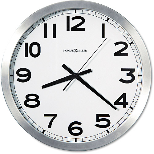 "Howard Miller Round Wall Clock, 15-3/4"", Brushed Aluminum"