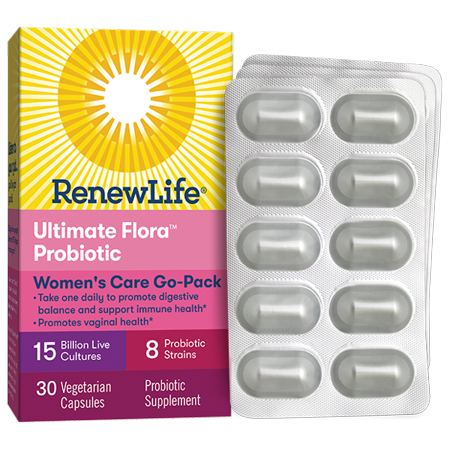 Renew Life Women's Care Probiotic, Ultimate Flora, 15 Billion, 30 Capsules, Go Pack Flora 50 Billion 30 Caps