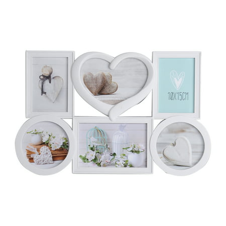 "KARMAS PRODUCT White Collage Picture Frame Decorative Wall Hanging Love Photo Frame 6 Openings, Two 2""x6"", Two7""x5"", Two"