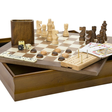 7-in-1 Classic Wooden Board Game Set – Old Fashioned Family Game Night Cards, Dice, Chess, Checkers, Backgammon, Dominoes and Cribbage by Hey! Play! (Play School Games)