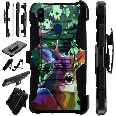 Compatible Samsung Galaxy A20 (2019) Case Armor Hybrid Phone Cover LuxGuard Holster (Deer