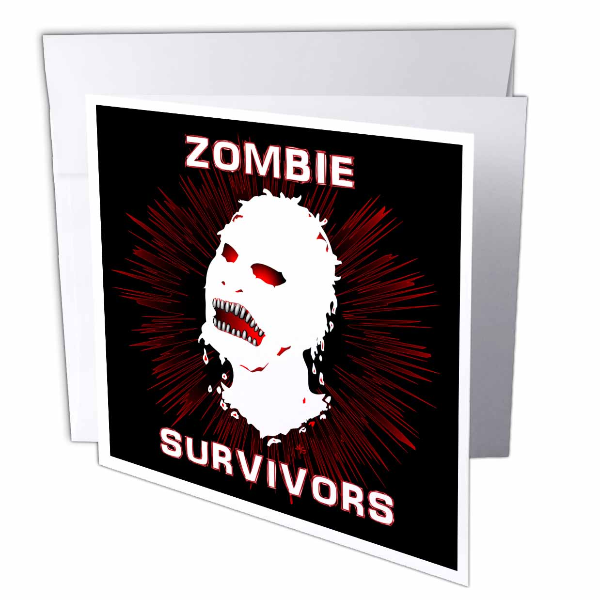 3dRose ICON zombie survivors 2 on black, Greeting Cards, 6 x 6 inches, set of 6