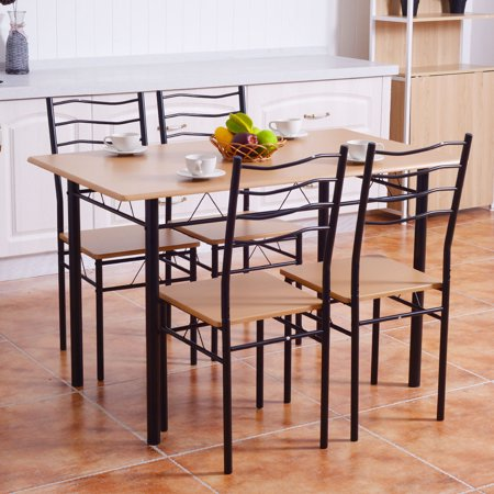Costway 5 Piece Dining Table Set with 4 Chairs Wood Metal Kitchen Breakfast (Four Piece Wood)