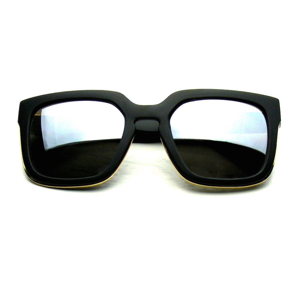 Emblem Eyewear - Horned Rim Block Hipster Flash Mirror Thick Keyhole Sunglasses - image 3 de 3
