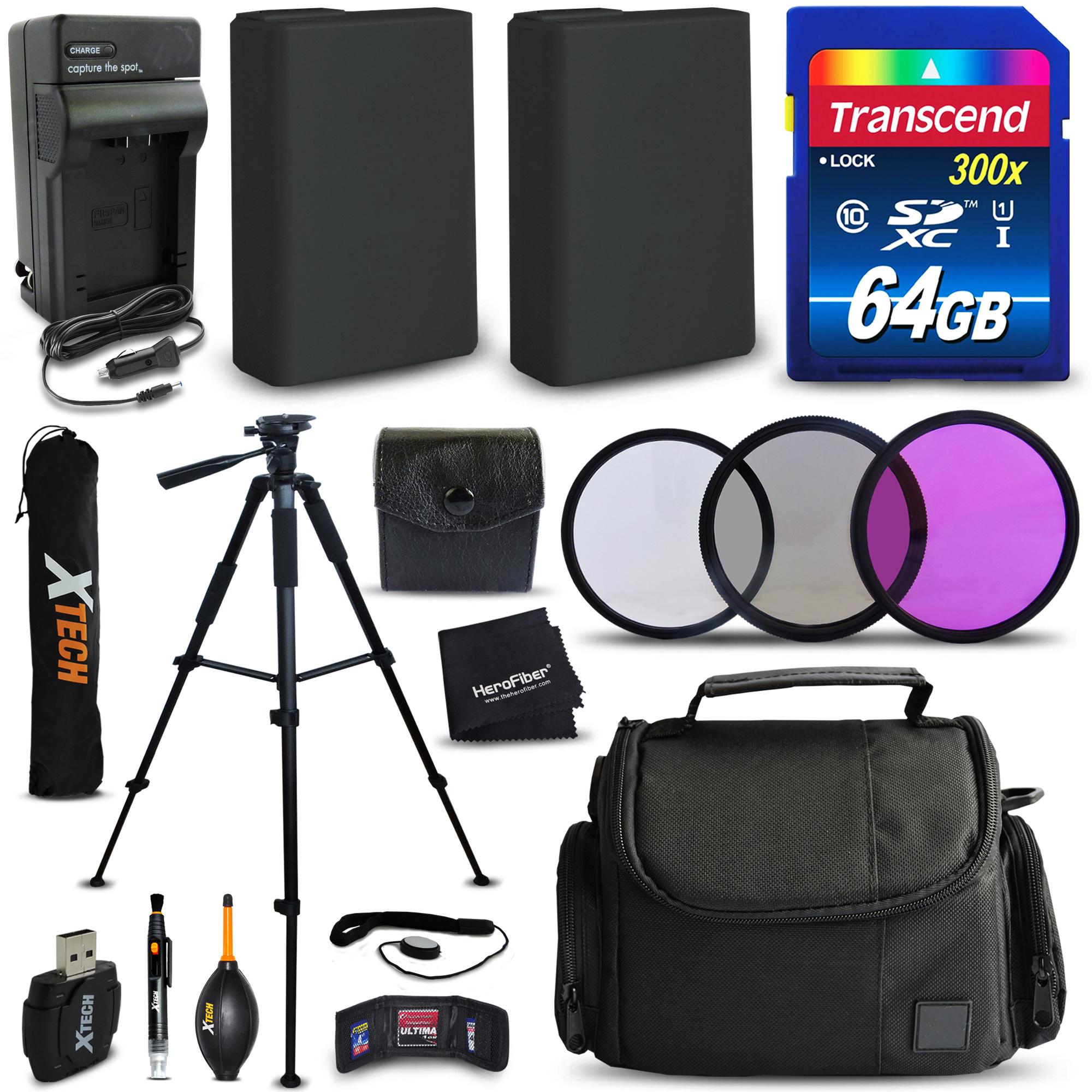 64GB Memory + 2 LP-E10 Batteries + Accessories Kit for Ca...