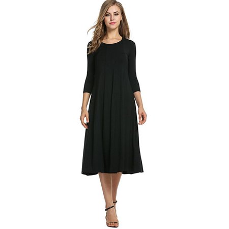 3e088bf7ff FRESHLOOK - Women's 3/4 Sleeve A-Line and Flare Midi Long Dress -  Walmart.com