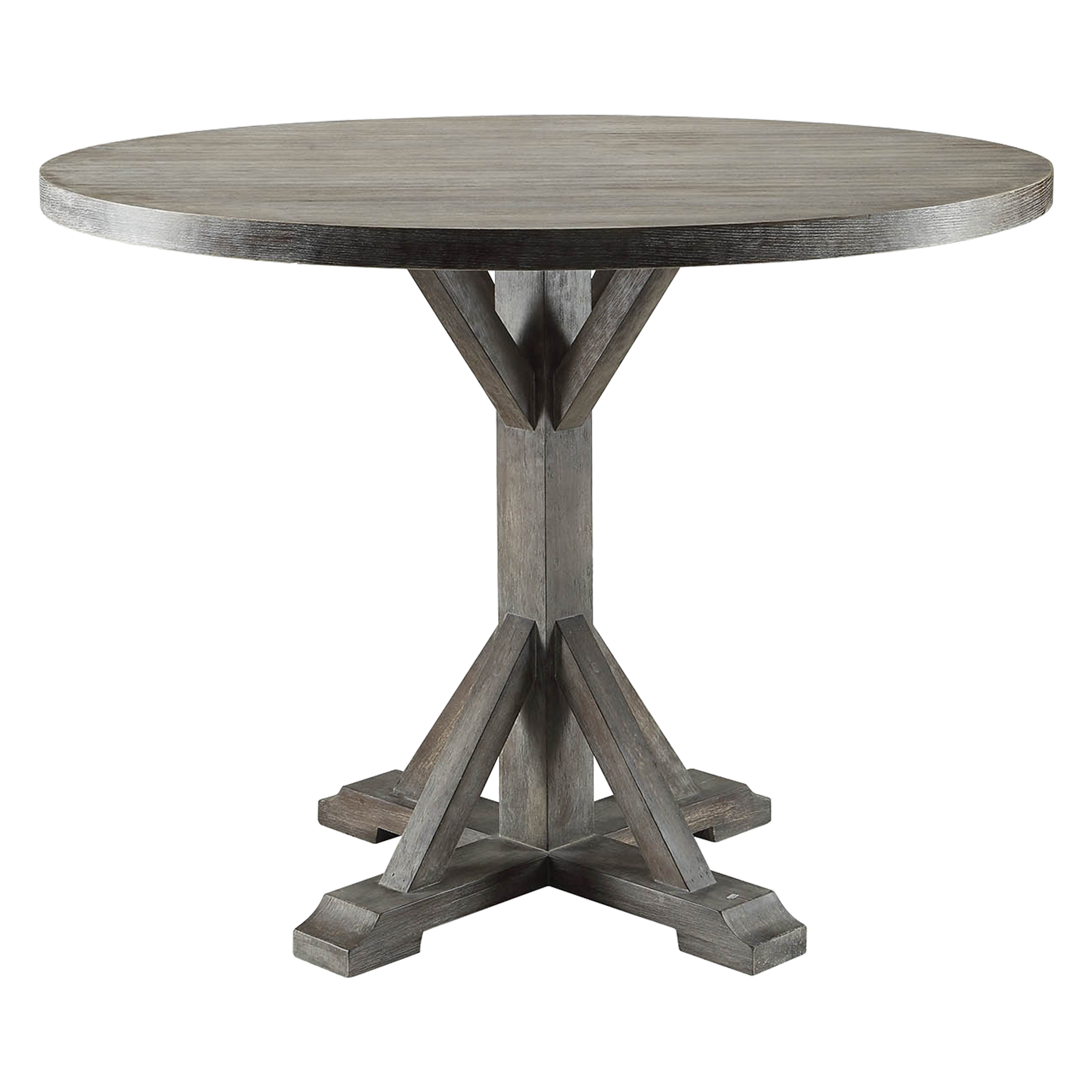 ACME Carmelina Round Dining Table in Weathered Gray Oak