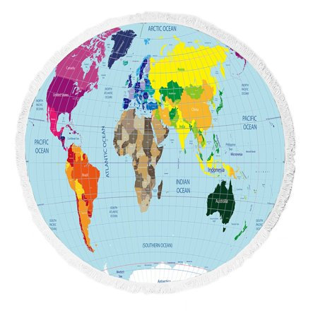 Gckg global earth map beach towel high detailed world map with time gckg global earth map beach towel high detailed world map with time zone clocks gumiabroncs Image collections