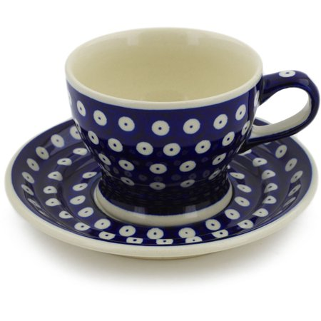 Polish Pottery 9 oz Cup with Saucer (Blue Eyes Theme) Hand Painted in Boleslawiec, Poland + Certificate of Authenticity (Blue Cup Saucer)