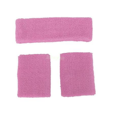 80s Neon Pink Headband Wristband Athlete Tennis Player Costume Kit