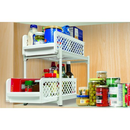 2 Tier Kitchen Bathroom Storage Organizer - Store Food Supplies, SLIDE OUT SHELVES - Easy to use shelves. Removable and slides in and out By IdeaWorks