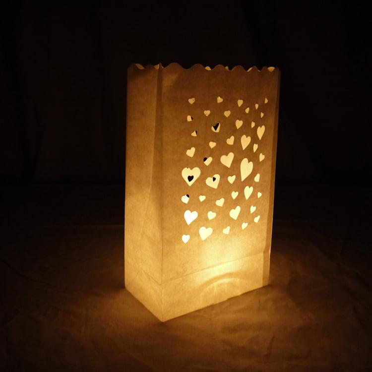 Quasimoon Floating Hearts Paper Luminaries / Luminary Lantern Bags Path Lighting (10 PACK) by PaperLanternStore