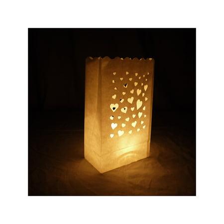 Halloween Lanterns Paper Bags (Quasimoon Floating Hearts Paper Luminaries / Luminary Lantern Bags Path Lighting (10 PACK) by)