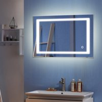 Zimtown Light Strip Touch LED Bathroom Mirror Anti Fog 36x28 in Rectangle Wall Mounted Mirror Silver