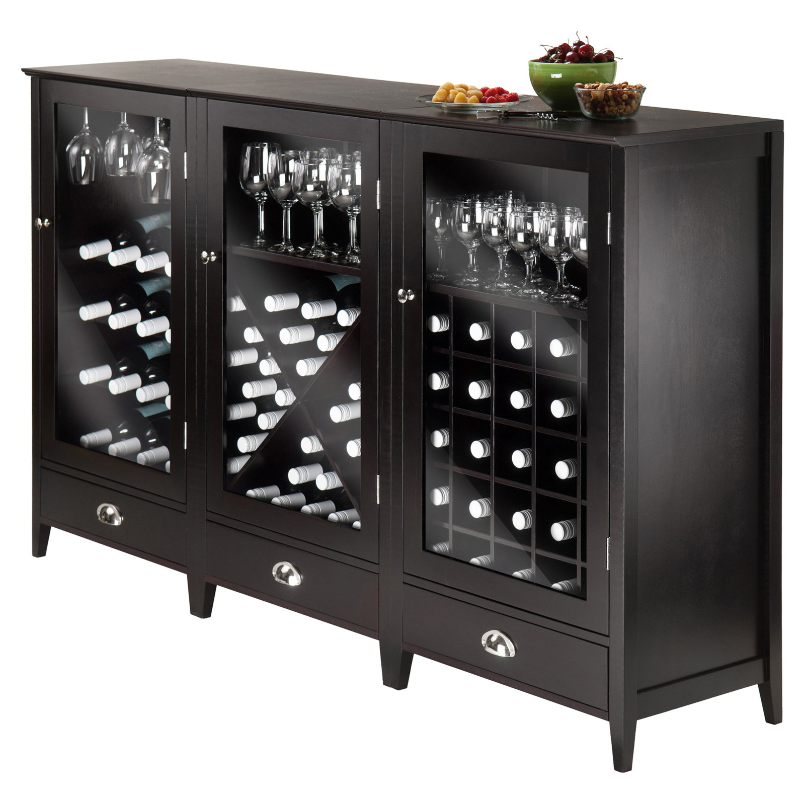 Winsome Wood Bordeaux 3pc Modular Wine Cabinet Set, Espresso Finish