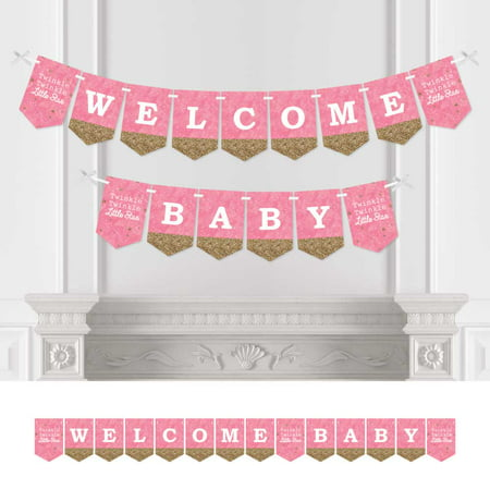 pink twinkle twinkle little star - baby shower bunting banner - pink party decorations - welcome