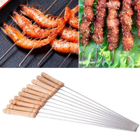 12Pcs Stainless Steel Metal Barbeque Skewer Needle BBQ Kebab Stick Utensil 12