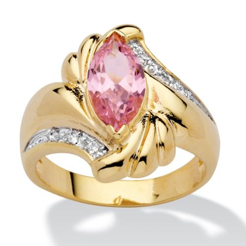 2.05 TCW Marquise-Cut Pink Cubic Zirconia Ring in 14k Gold-Plated - Size 7