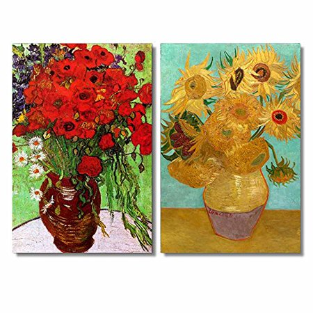 Famous Oil Painting Reproduction Replica Set of 2 Still Life Vase with Twelve Sunflowers Red Poppies and Daisies by Van Gogh ped - Canvas Art Wall Decor - 16