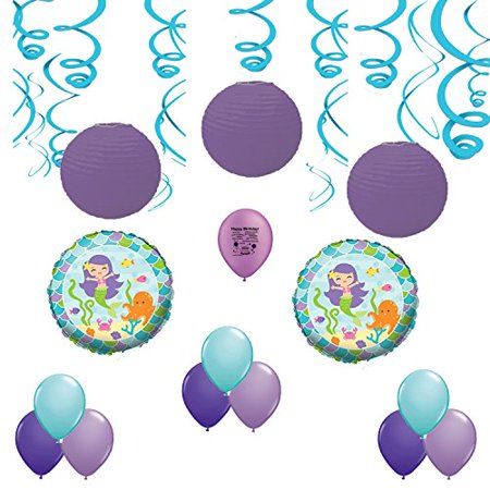 Mermaid Under the Sea Birthday Party Swirls, Lanterns and Balloons Room Decoration - Under The Sea Room Decorations