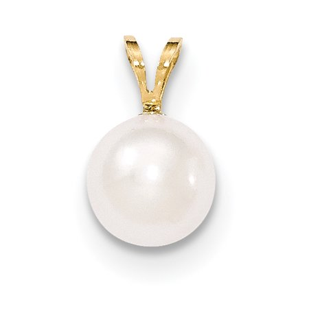 14k Yellow Gold 9mm Round White Saltwater Akoya Cultured Pearl Pendant Charm Necklace 14k Yellow Gold Pearl Pendant