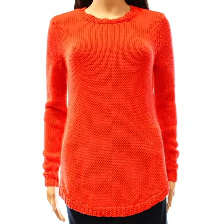 Ralph Lauren Women's Jewel Neck Long Sleeve Sweater, Orange, Large Cotton Jewel Neck Sweater