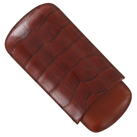 Womens Cognac Synthetic Leather (Tampa Fuego Cognac Cigar Case Exotic Alligator 1/2 Leather )