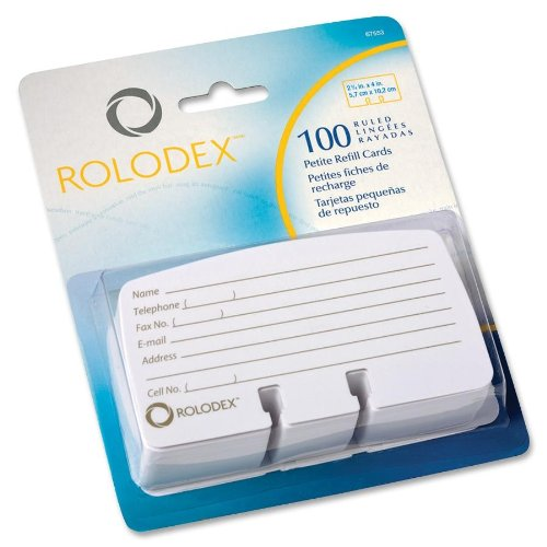 Rolodex Petite List Finder Card Refill - 100 Address Card - White (ROL67553)