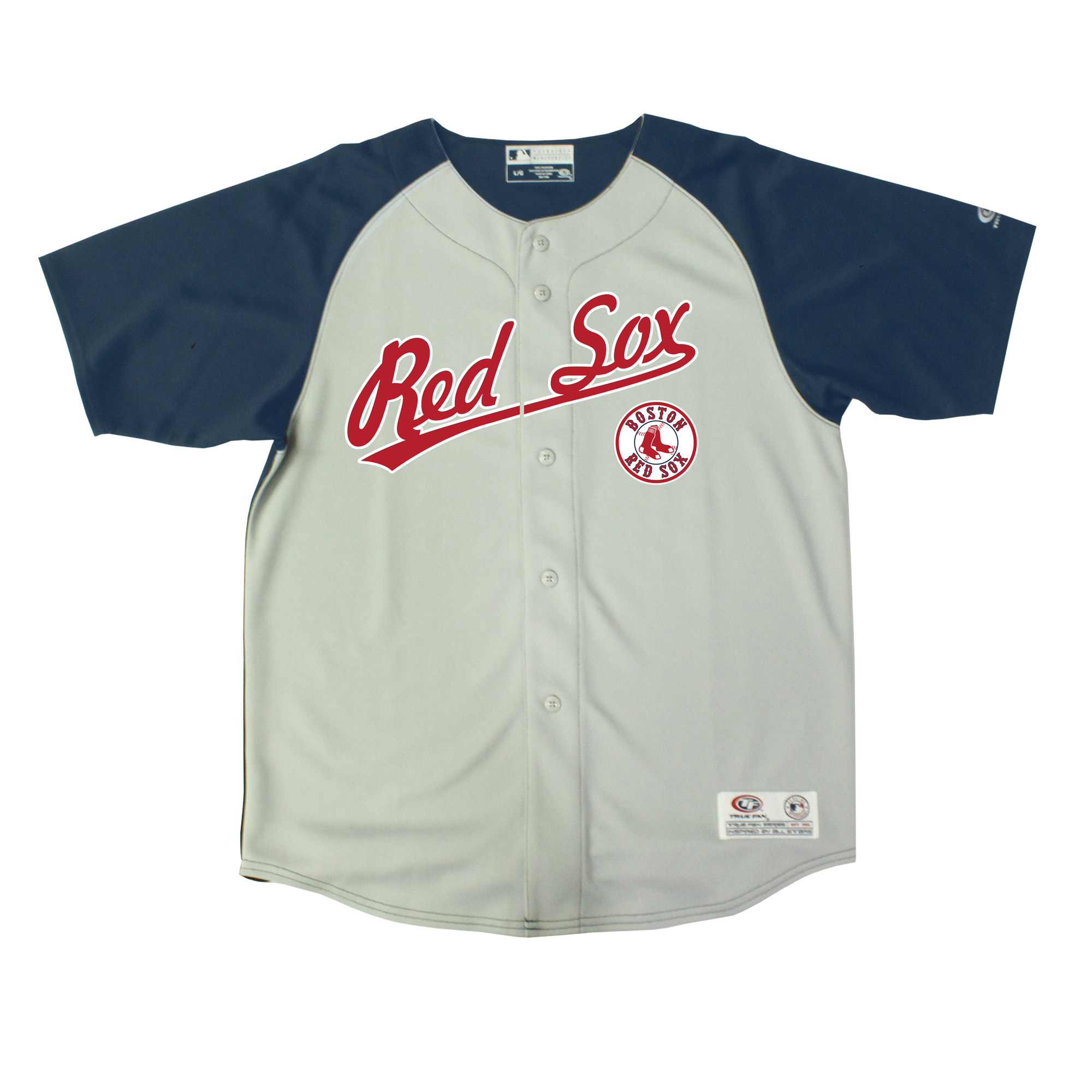 Youth Stitches Gray/Navy Boston Red Sox Double Play Jersey
