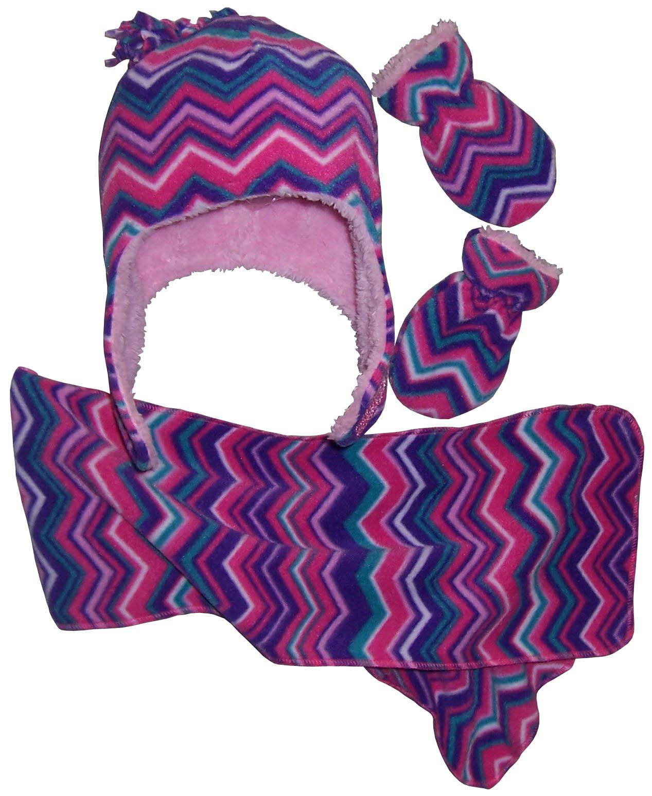 NICE CAPS Girls Chevron Soft Sherpa Lined Hat/Scarf/Mitten Set