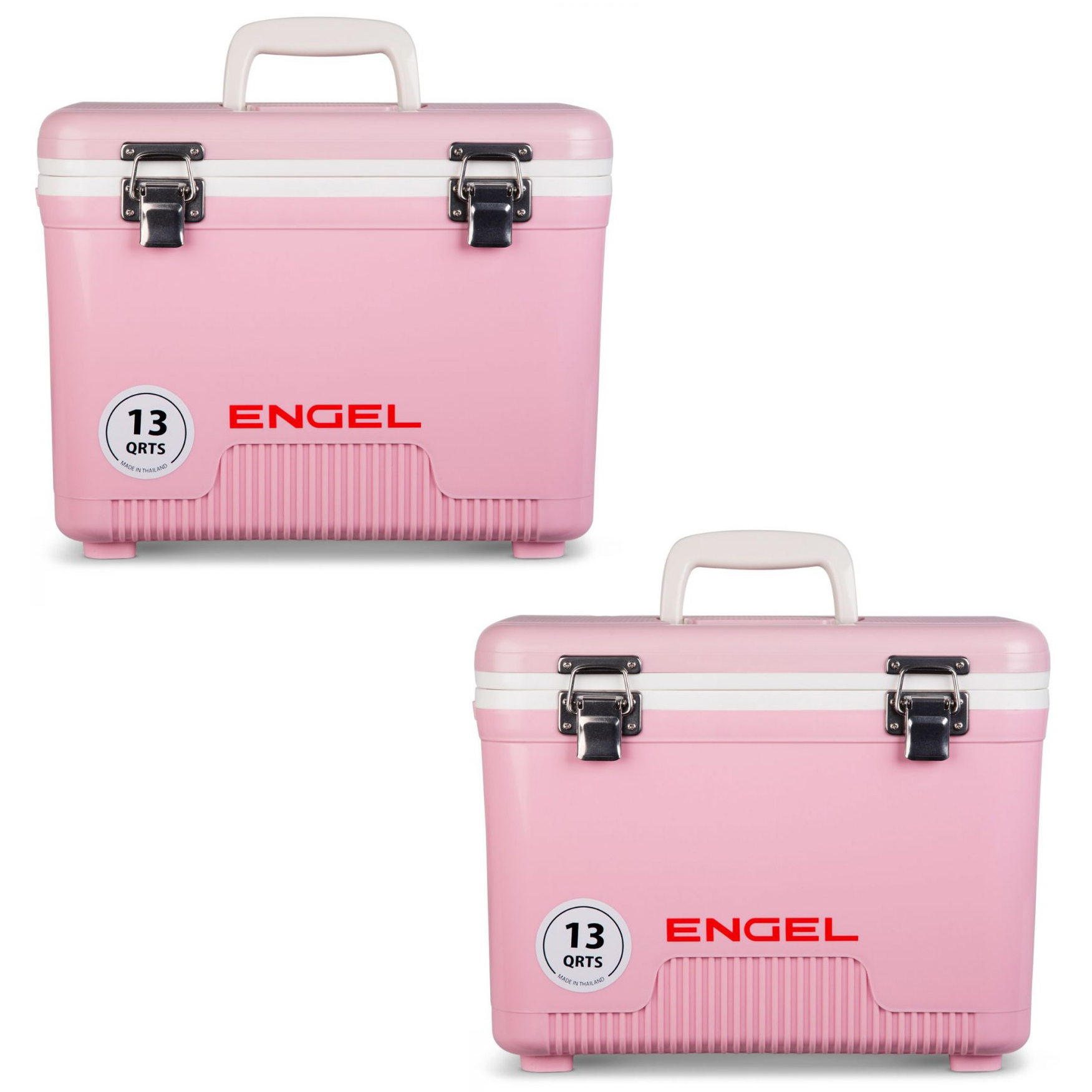 Engel 13 Quart Compact Durable Leak Proof Outdoor Dry Box Cooler, Pink (2 Pack)