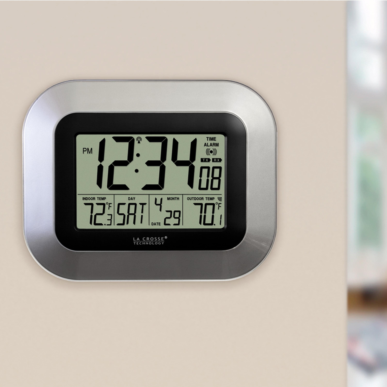 La Crosse Technology Silver Digital Atomic Clock With Temperature