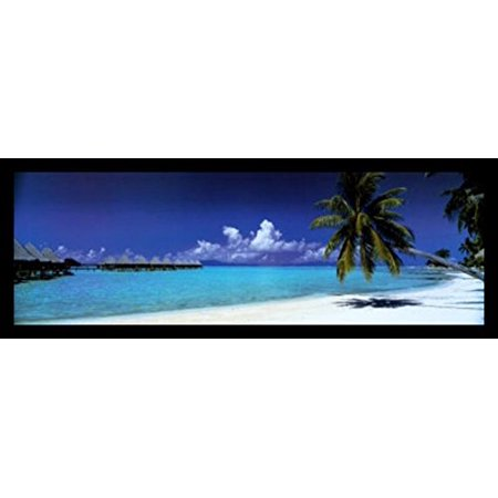 FRAMED Palm Island Retreat Tropical Island White Sands 36x12 Photograph Art Print Poster Coastal Getaway