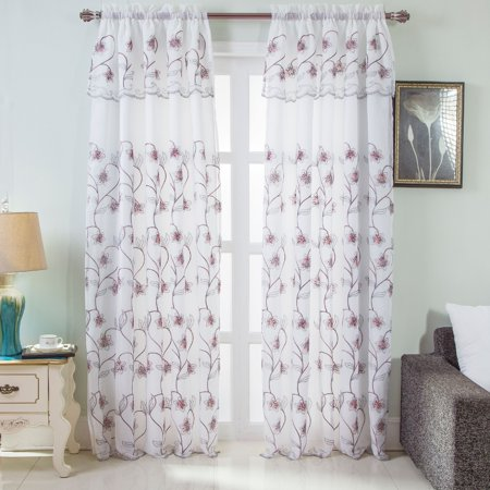 - Brett Floral Embroidered 54 x 84 in. Rod Pocket Single Curtain Panel w/ Attached Valance, White