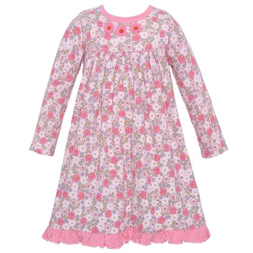 Baby Lulu Baby Girls Pink Floral Printed Ruffle Hemline Dress 12-24M