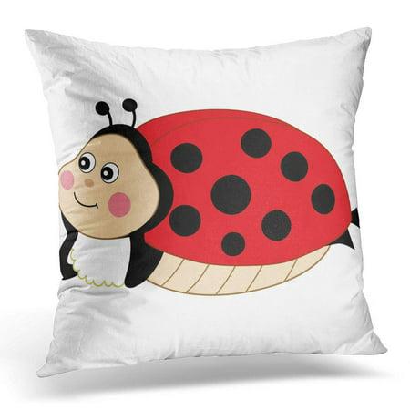 BOSDECO Black Baby Cartoon Ladybug Cute Ladybird Red Beauty Pillowcase Pillow Cover Cushion Case 16x16 inch - image 1 de 1