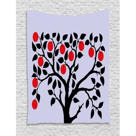 Apple Tapestry, Black Tree with Ripe Red Nutritious Fruit Flourishing Nature Garden Forest Art, Wall Hanging for Bedroom Living Room Dorm Decor, 40W X 60L Inches, Lilac Black Red, by Ambesonne