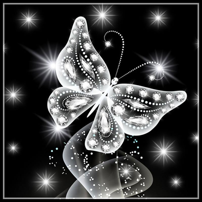 5D Pink Butterfly Rhinestone Cross Stitch DIY Crystal Animal Art Needlework Home Office Embroidery Diamond Painting
