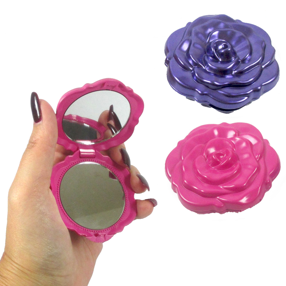 Compact Portable Pocket Mirror Rose Double Sided Folding Magnifying Makeup Stand