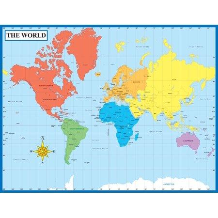"""Carson Dellosa Map of the World Chart (114096), 17"""" x 22"""" By Carson-Dellosa"""