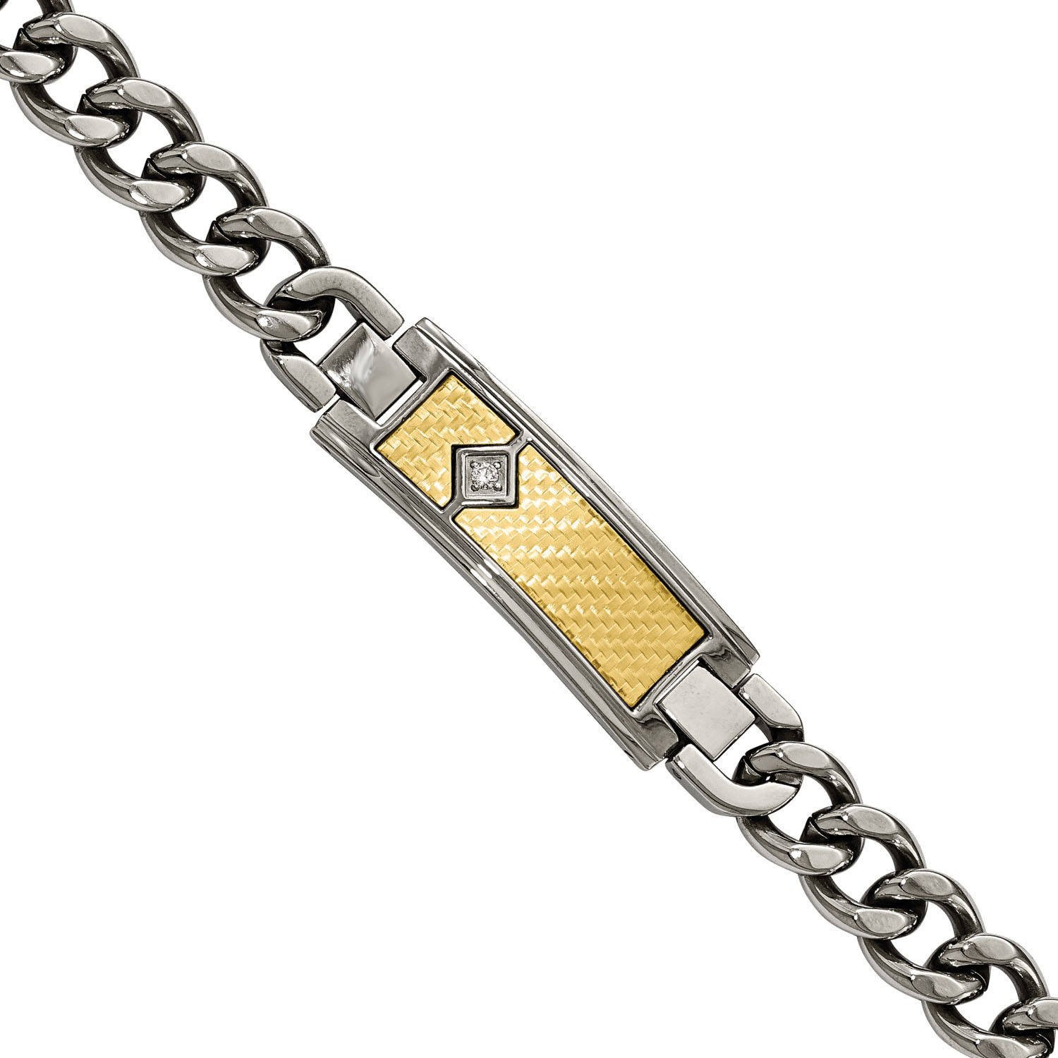 Primal Steel Stainless Steel with 18kt Polished Weave Textured Diamond ID Bracelet by Generic