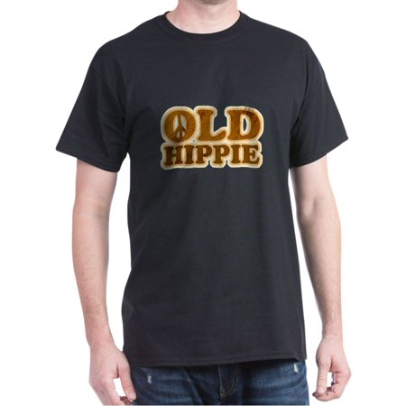CafePress - Old Hippie Peace Dark T Shirt - 100% Cotton T-Shirt Cotton Hippie Shirt