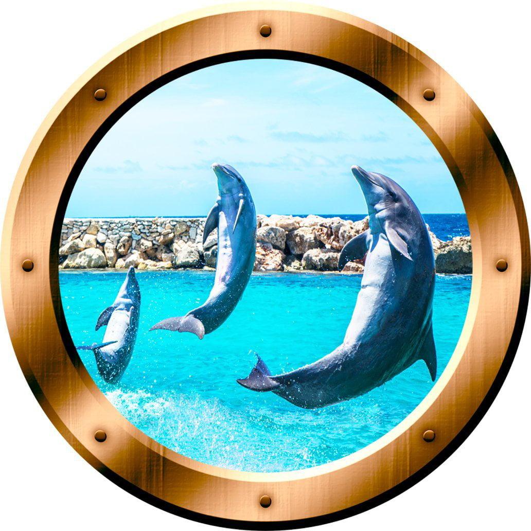 """VWAQ 1 X Dolphin Porthole Porpoise Wall Decal 3D Wall Sticker Peel And Stick Decor VWAQ-BP26 (14"""" Diameter)"""