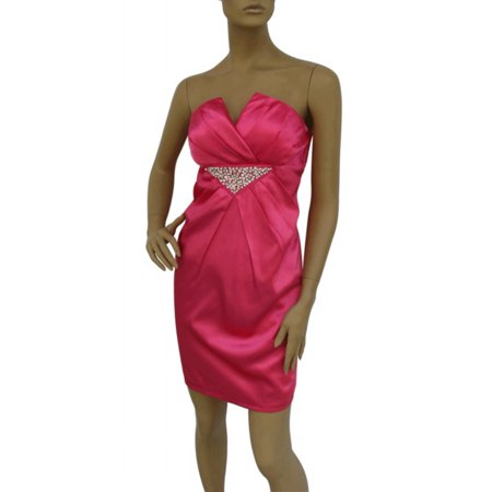 Faship Pink Strapless Beaded Cocktail Formal (Strapless Beaded Satin)