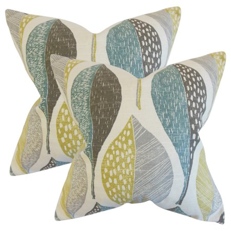 Set of 2 Valter Geometric Throw Pillows in Rain