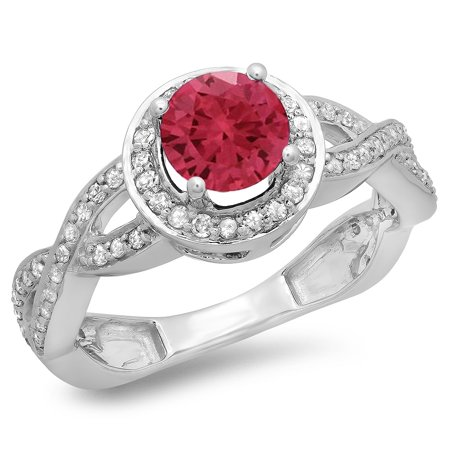 Dazzlingrock Collection 14K Round Ruby & White Diamond Split Shank Halo Engagement Ring, White Gold, Size 5