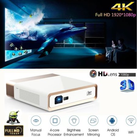 KONKA DLP Android 3D 4K Ultra HD Video Projector 10000 LUMENS Wifi HDMI RJ45 - Dlp 1700 Lumen Projector