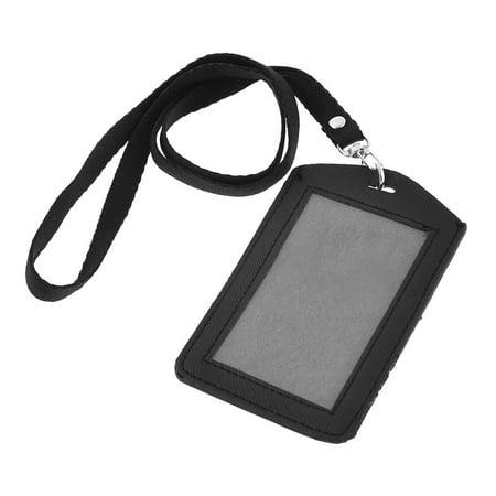 Unique Bargains Black Lobster Clasp Strap Faux Leather Vertical ID Badge Card Holder