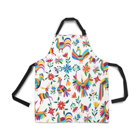 HATIART Traditional Latin American Art Natural Inspirations Flowers and Birds Adjustable Bib Apron with Pockets Commercial Restaurant and Home Kitchen Adjustable Apron - image 2 of 2